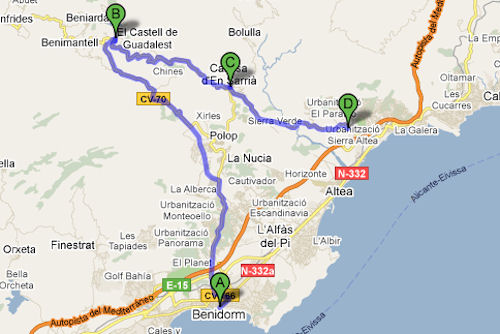 Biking route map starting in Benidorm and passing through Guadalest,Callosa d'en Seria and Altea.