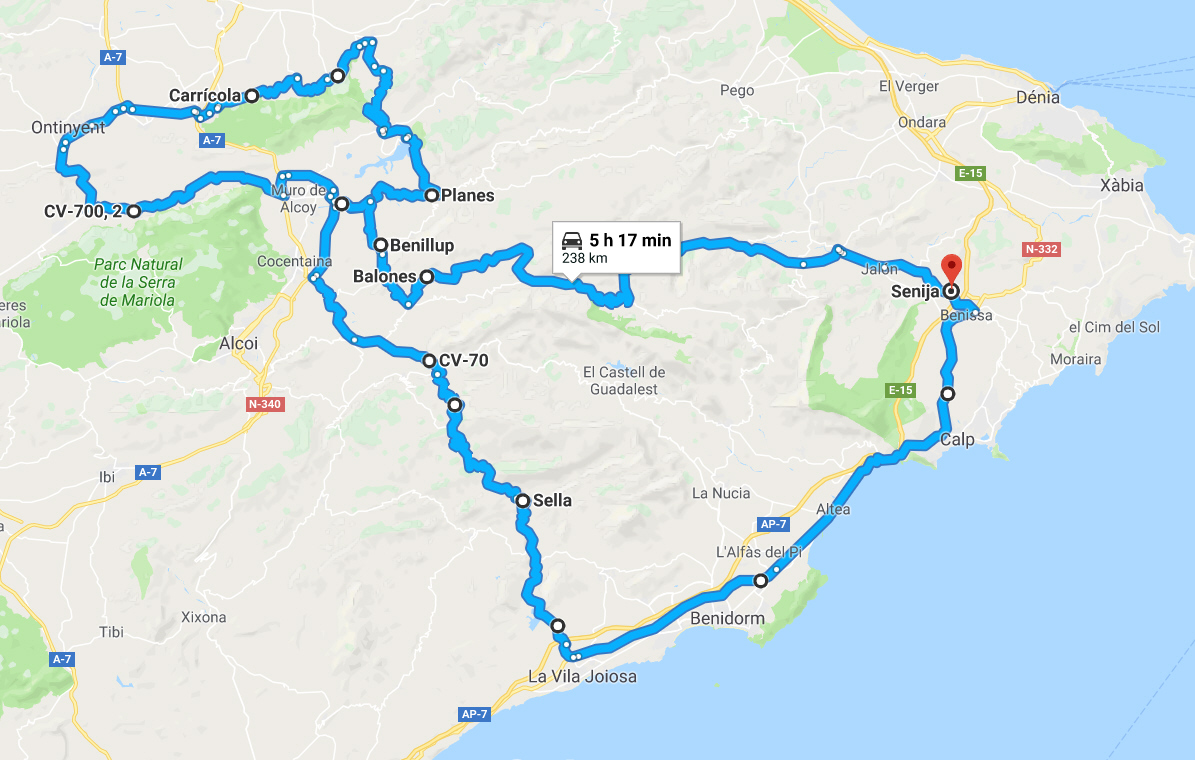 Motorcycle route through the Costa Blanca Mountains.