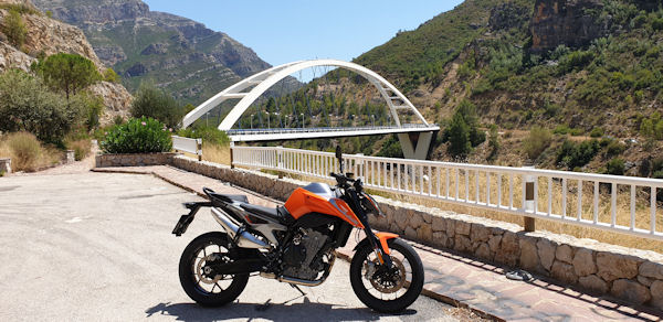 KTM Duke 790 with a bridge in the background, Comunidad Valenciana, Spain