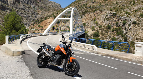 KTM 790 Duke on a bridge near Dos Aguas, Costa Blanca, Spain