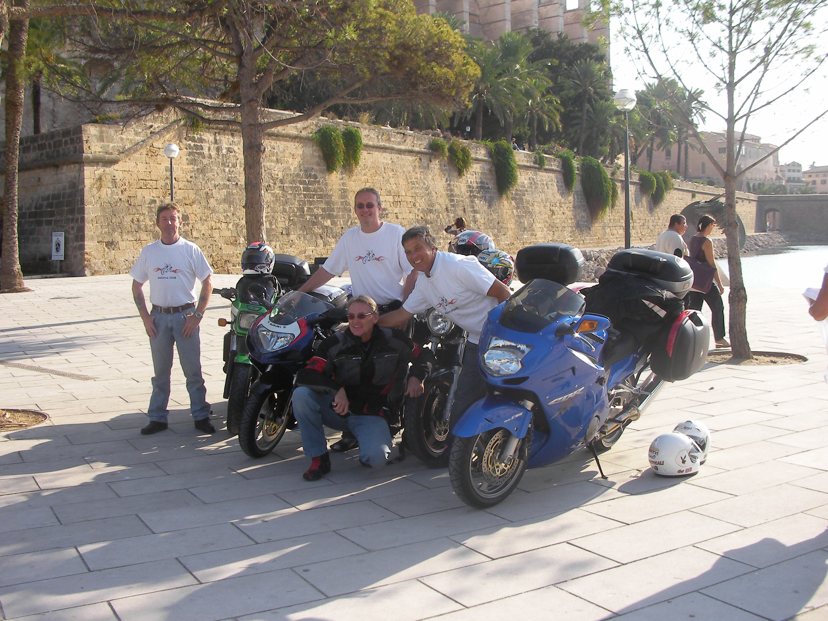 Motorcycles outside the cathederal in Palma Mallorca.